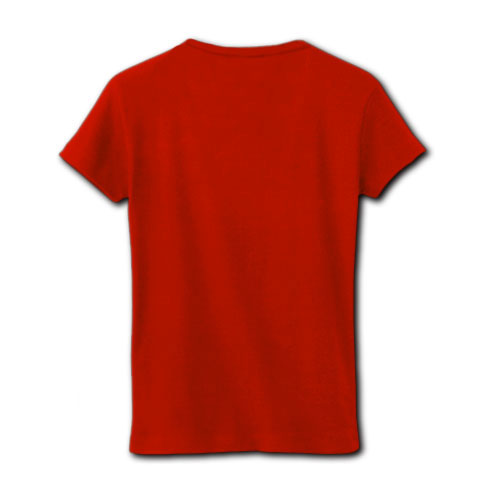Cat loves 222 (Stick Out) Red リブクルーネックTシャツ(赤)